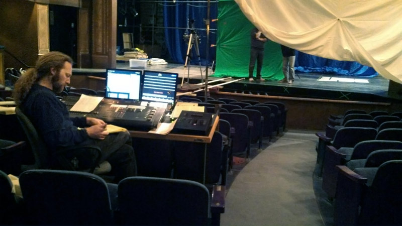 Phil from Skylight handed lighting cues using the house board.  The muslin drape was diffusion for the subject's key light.